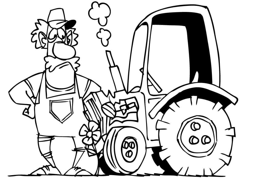 Раскраска фермер и трактор