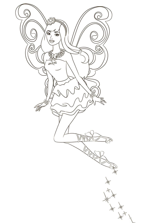 Раскраска Фейский полет Барби