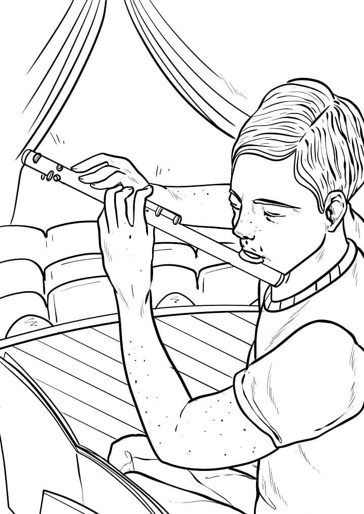 Раскраска Флейтист 5
