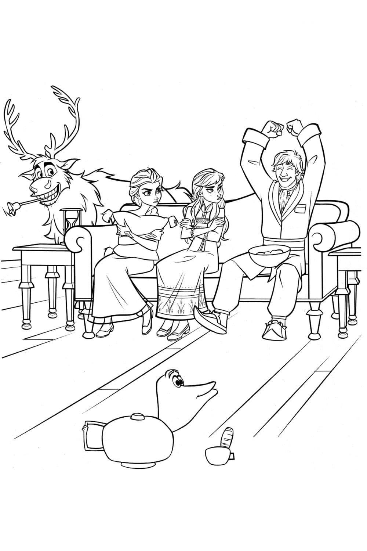 Раскраска Герои Холодного сердца 2 играют в крокодила