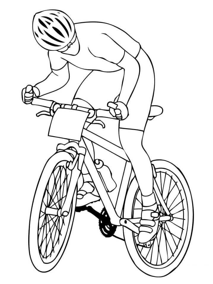 Раскраска Горный велосипедист