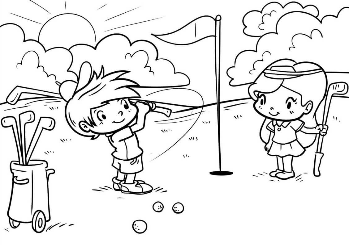 Раскраска игра в гольф 12