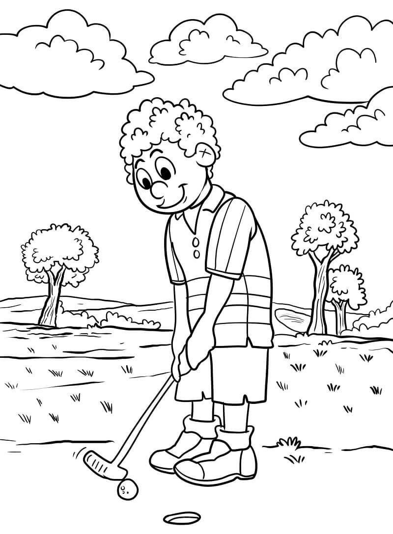 Раскраска игра в гольф 13