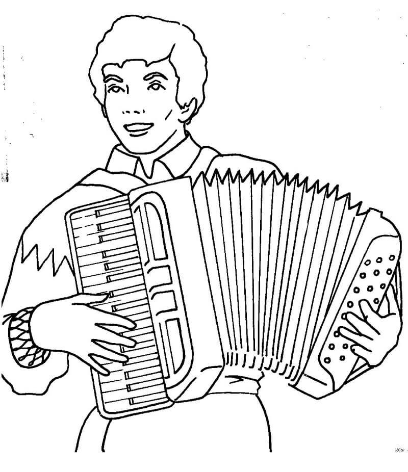 Раскраска играть на аккордеоне 1