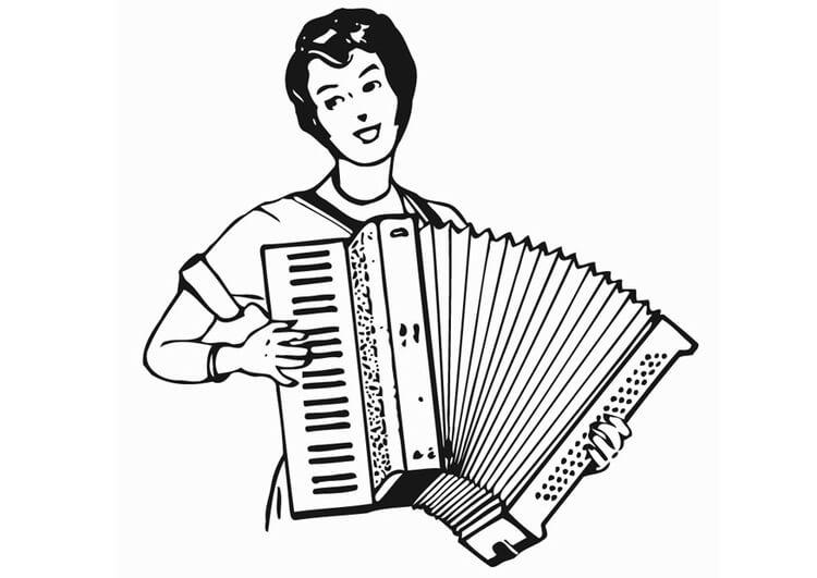 Раскраска играть на аккордеоне 2