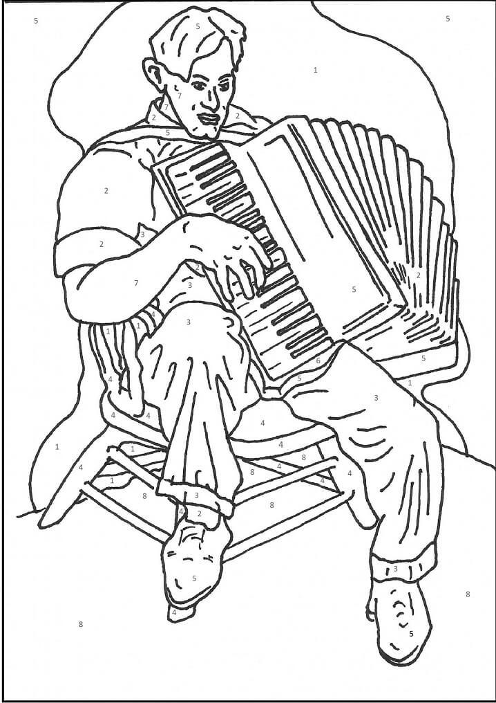 Раскраска играть на аккордеоне