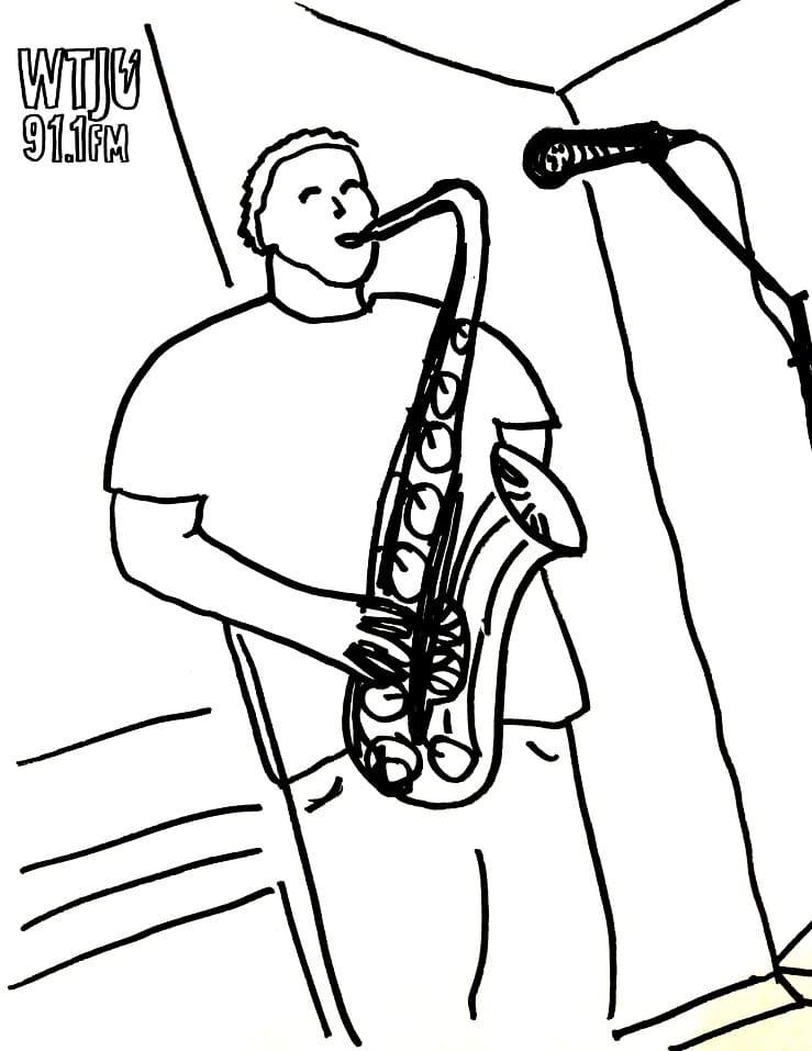 Раскраска играть на саксофоне 1