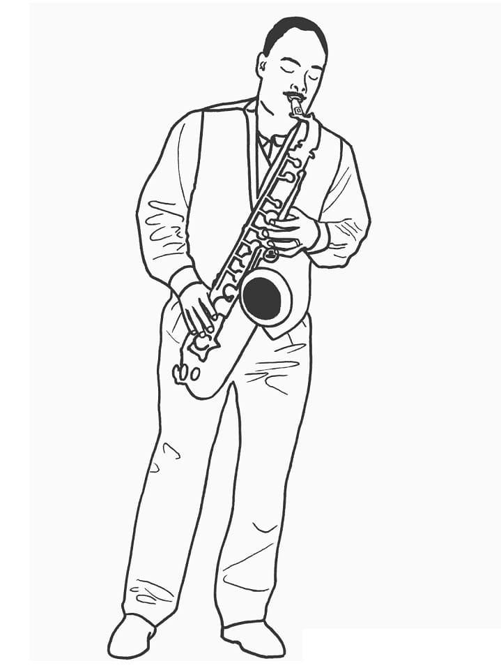 Раскраска играть на саксофоне 3