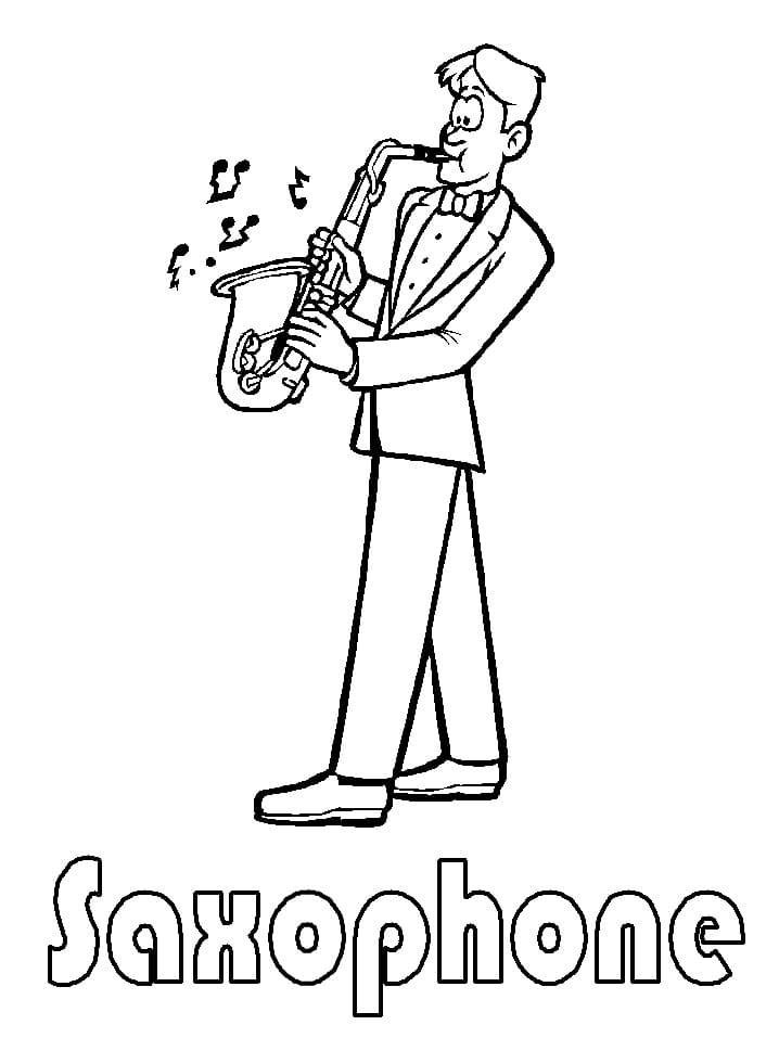 Раскраска играть на саксофоне 4