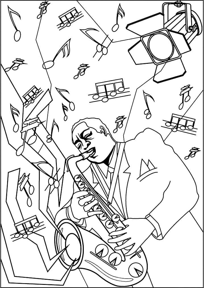 Раскраска играть на саксофоне 5