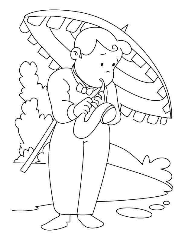 Раскраска играть на саксофоне