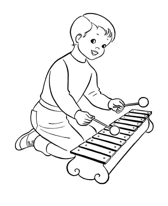 Раскраска играющий ксилофон 1