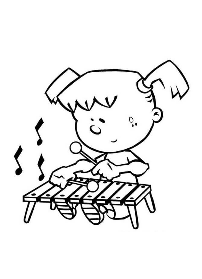 Раскраска играющий ксилофон 2