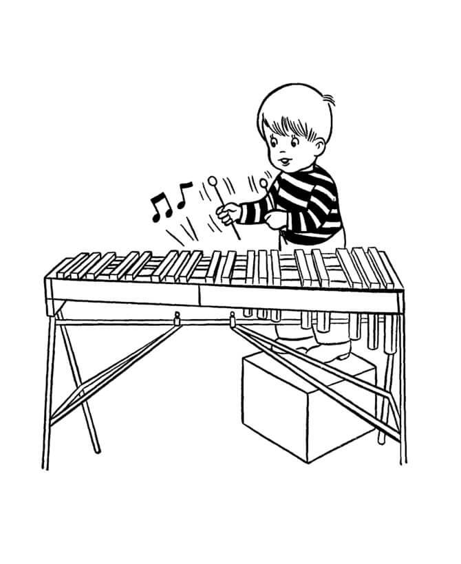 Раскраска играющий ксилофон