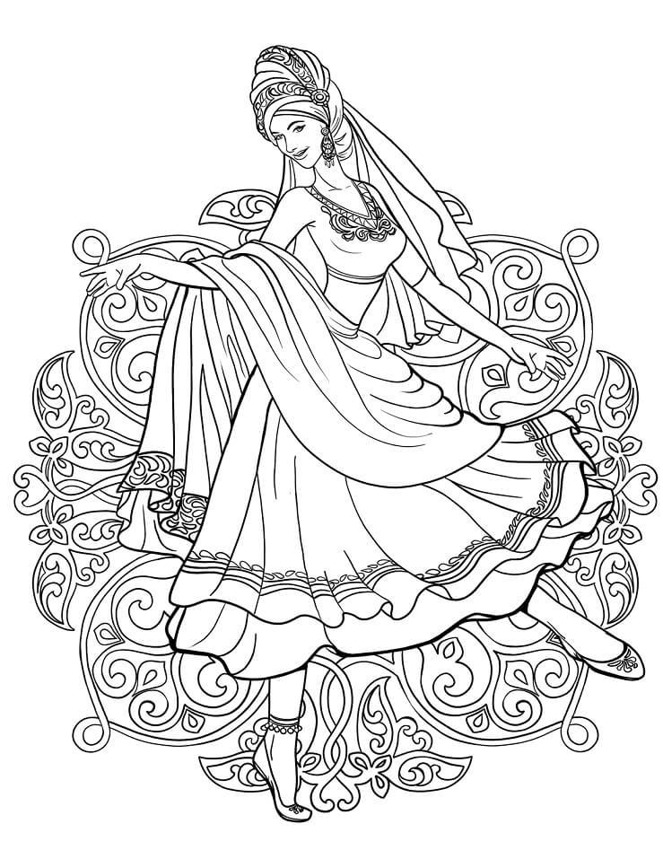 Раскраска Индианка танцует в традиционном наряде