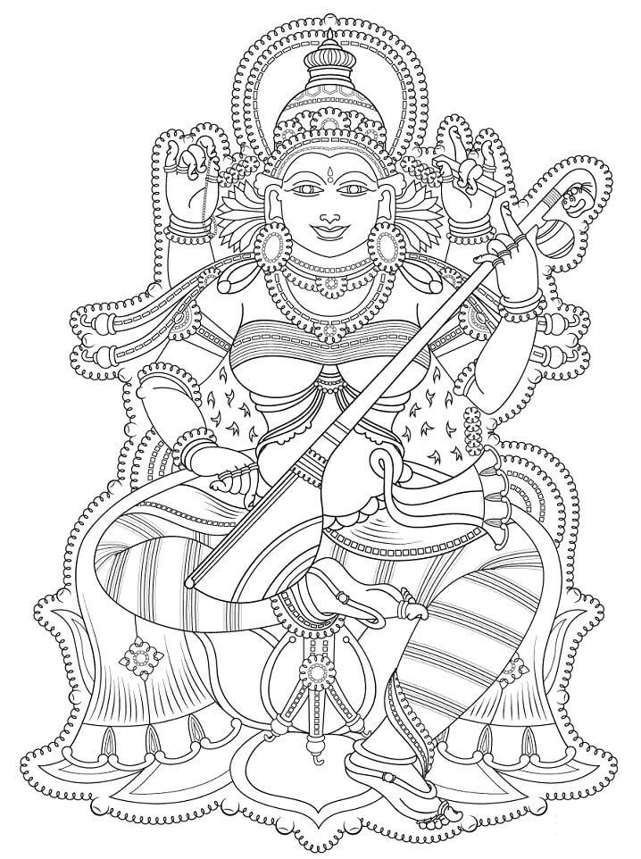 Раскраска Индийская фреска