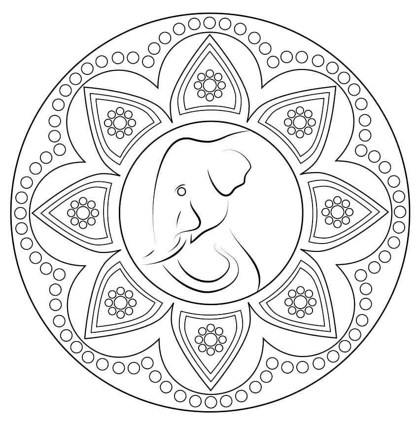 Раскраска Индийский орнамент ранголи