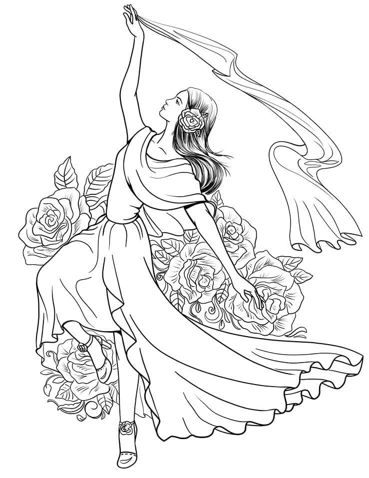 Раскраска Испанка танцует фламенко