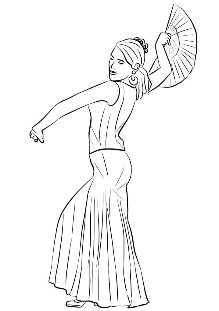 Раскраска Испанка транцует фламенко