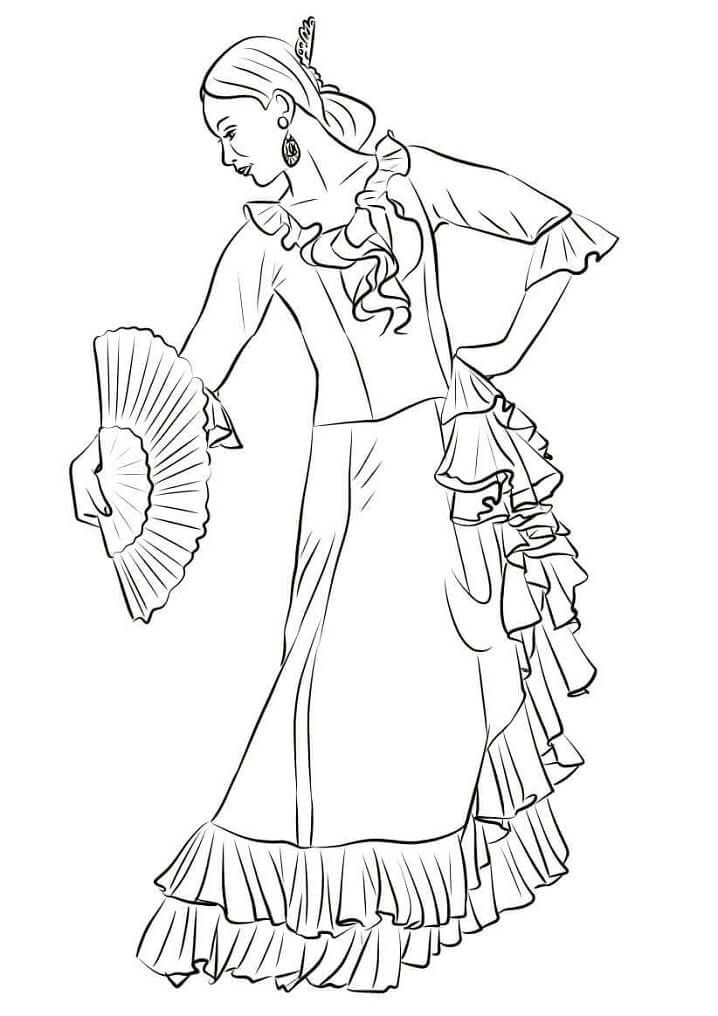Раскраска Испанская танцовщица фламенко