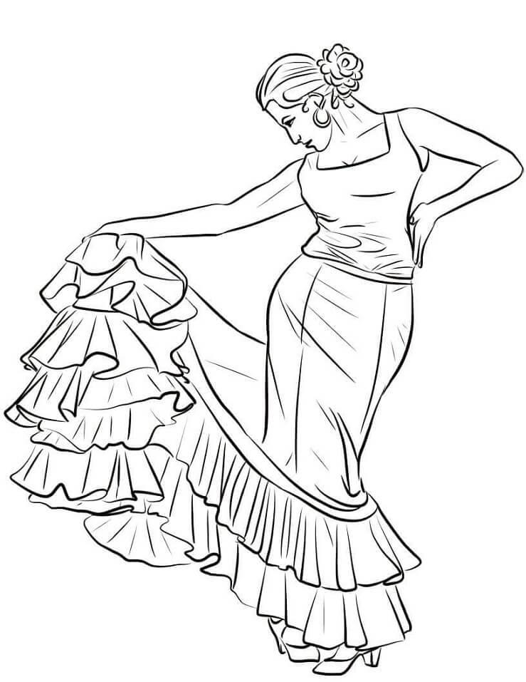 Раскраска Испанский танцор