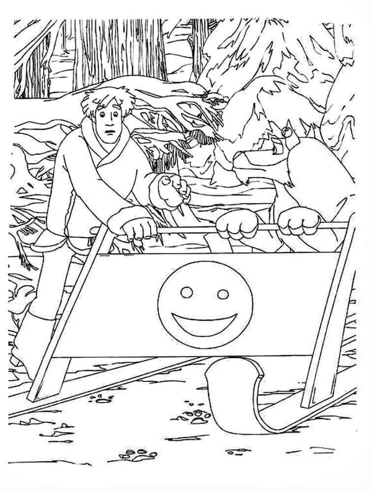 Раскраска Иван Царевич и Серый волк 14