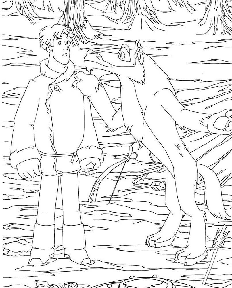 Раскраска Иван Царевич и Серый волк 34
