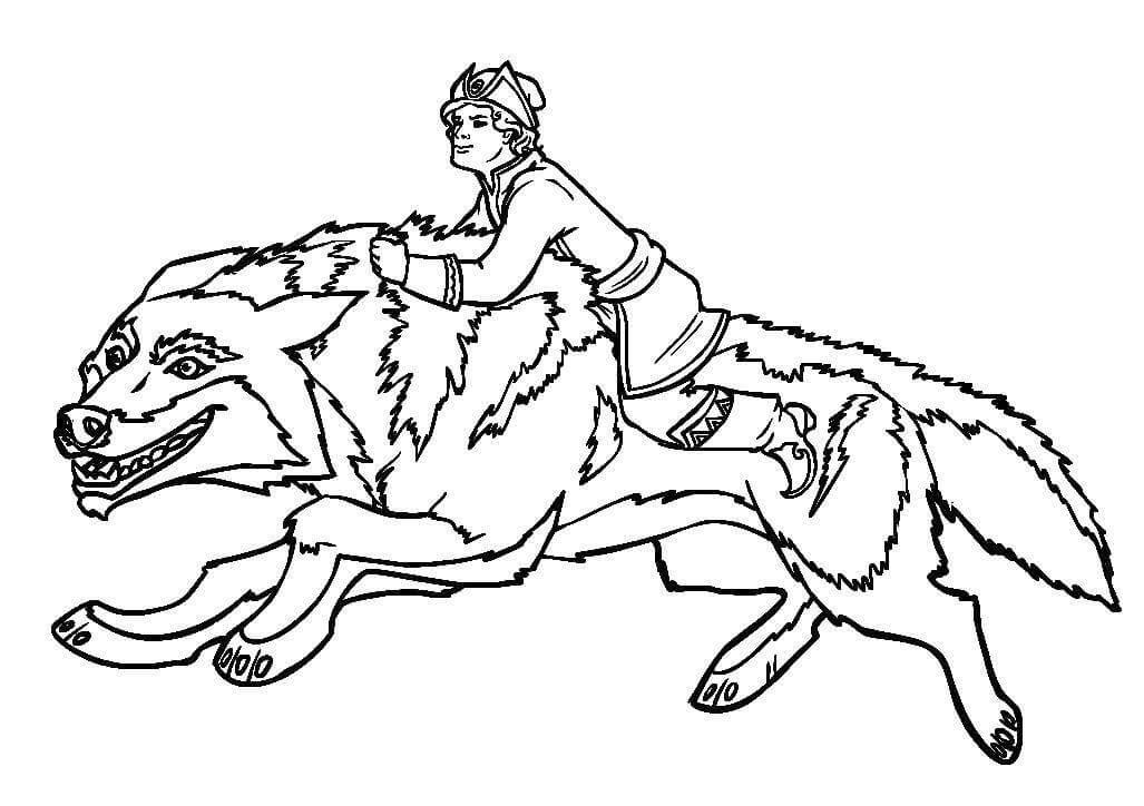 Раскраска Иван Царевич и Серый волк 40