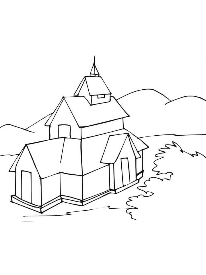 Раскраска Каркасная церковь
