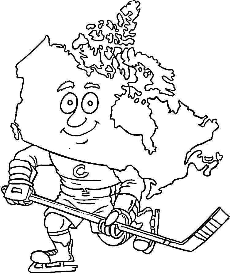 Раскраска Карта Канады - хокеист