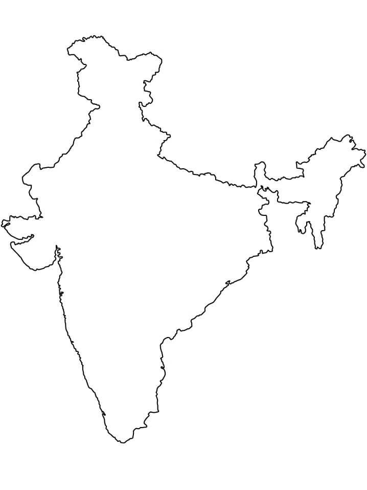 Раскраска Карта Индии