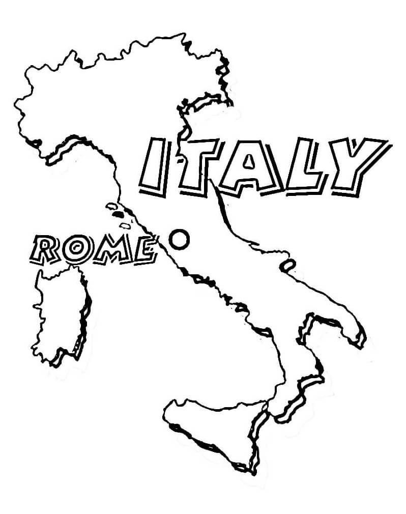 Раскраска Карта Италии