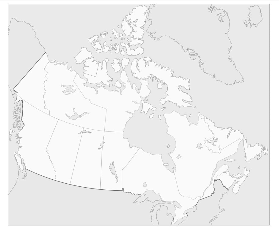 Раскраска Карта Канады