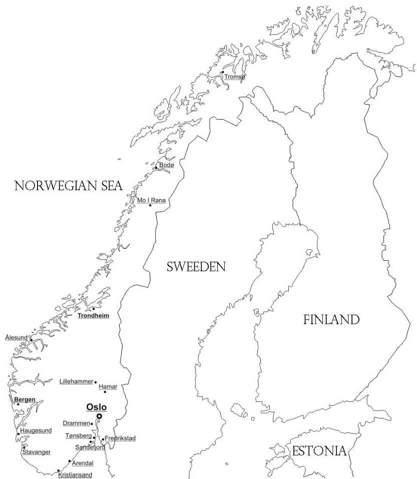 Раскраска Карта Норвегии