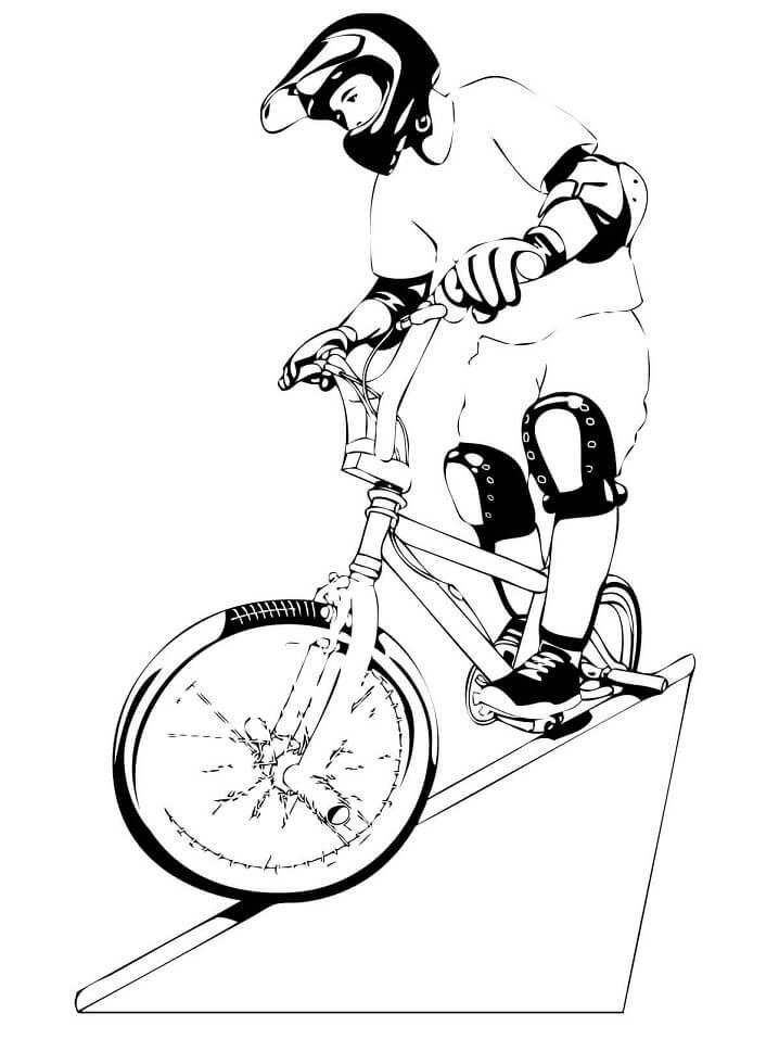 Раскраска Катание на велосипеде BMX