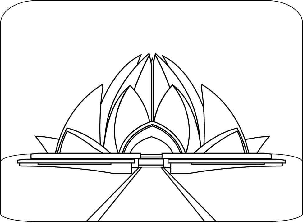 Раскраска Храм Лотоса в Дели