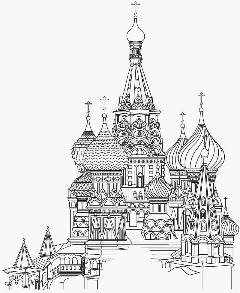 Раскраска Храм Василия Блаженного 11