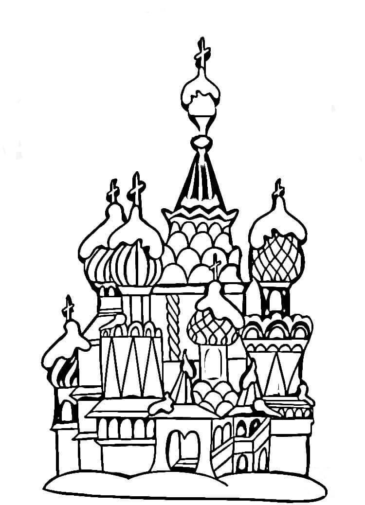 Раскраска Храм Василия Блаженного 2