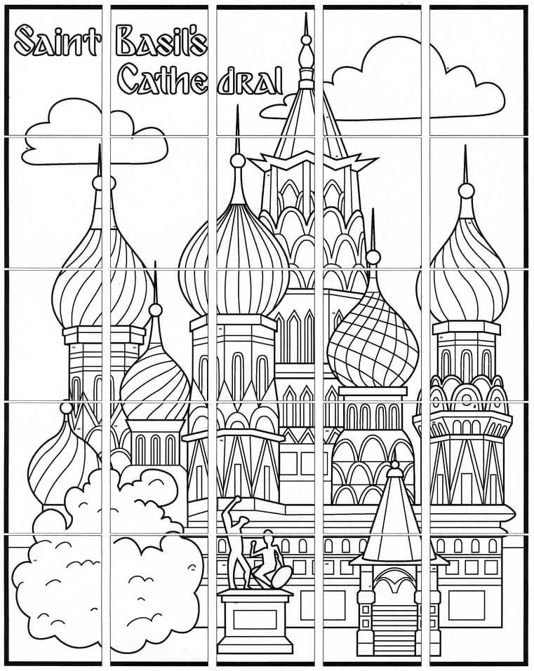Раскраска Храм Василия Блаженного 3