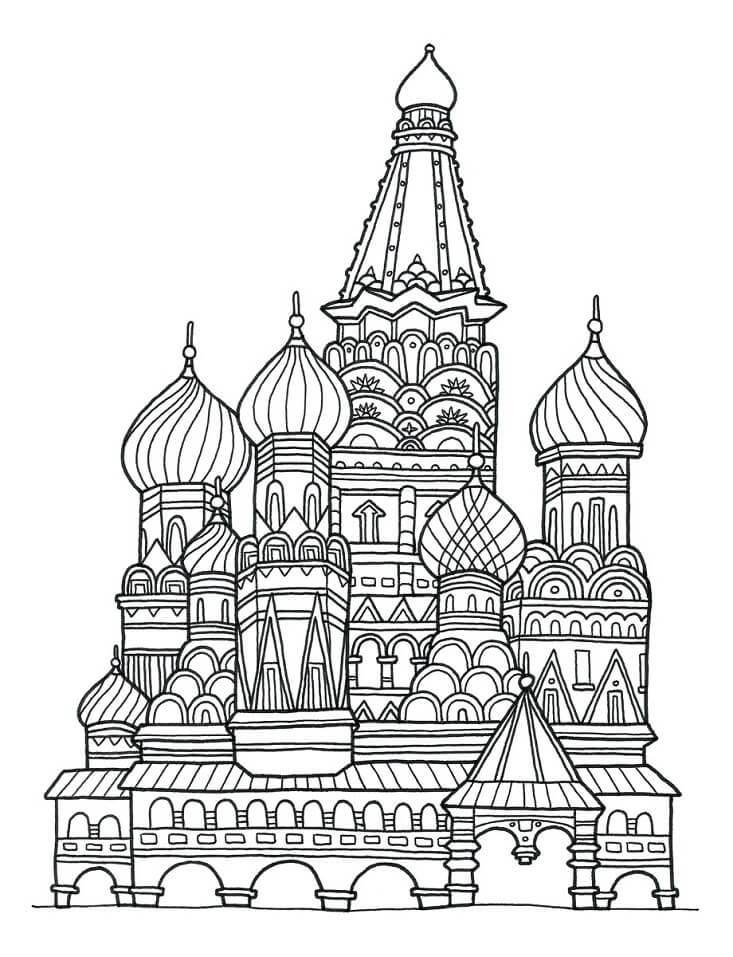 Раскраска Раскраски Храм Василия Блаженного