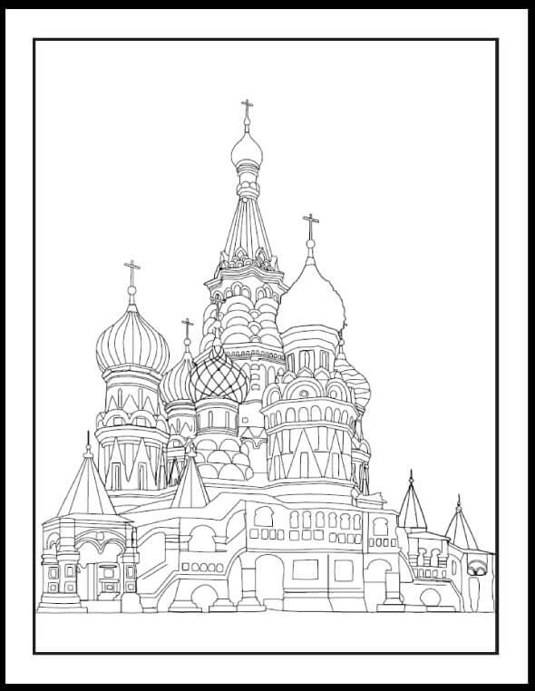 Раскраска Храм Василия Блаженного 7