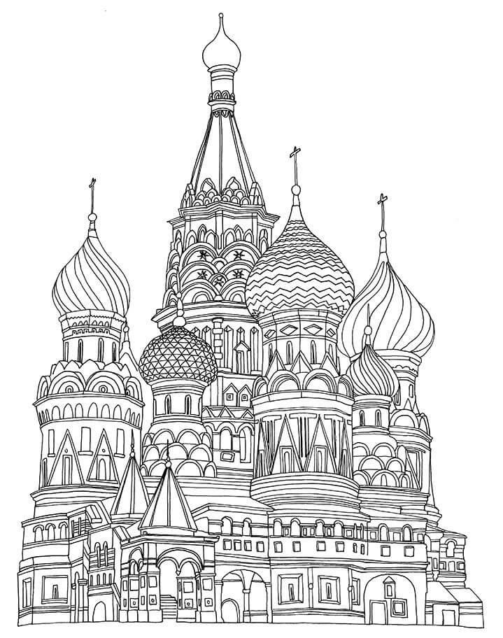 Раскраска Храм Василия Блаженного 8