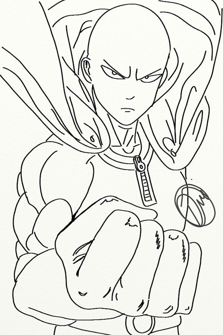 Раскраска классная Сайтама