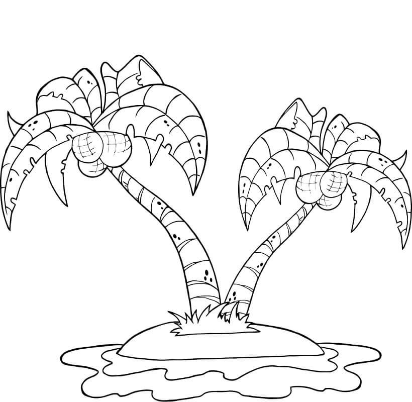 Раскраска кокосовое дерево 6