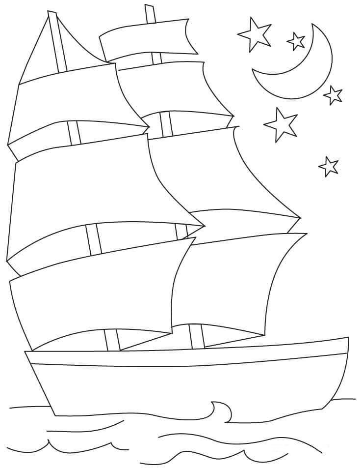 Раскраска Корабль и Луна