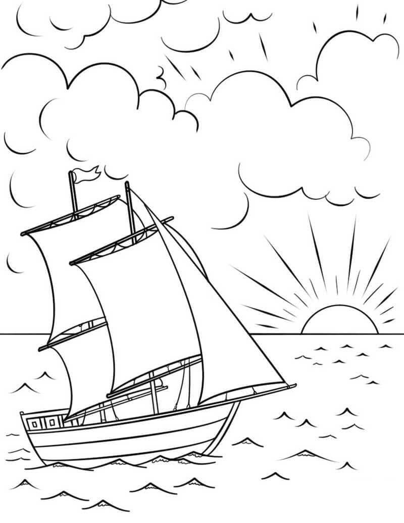 Раскраска корабль и солнце