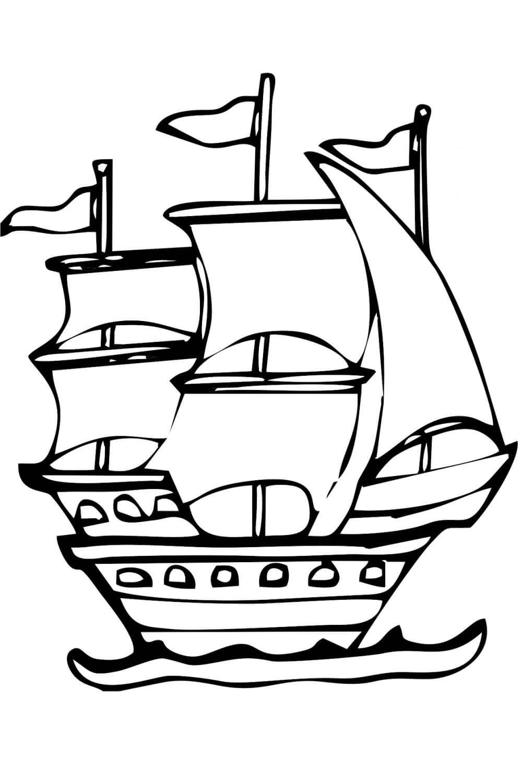 Раскраска Корабль на 23 февраля