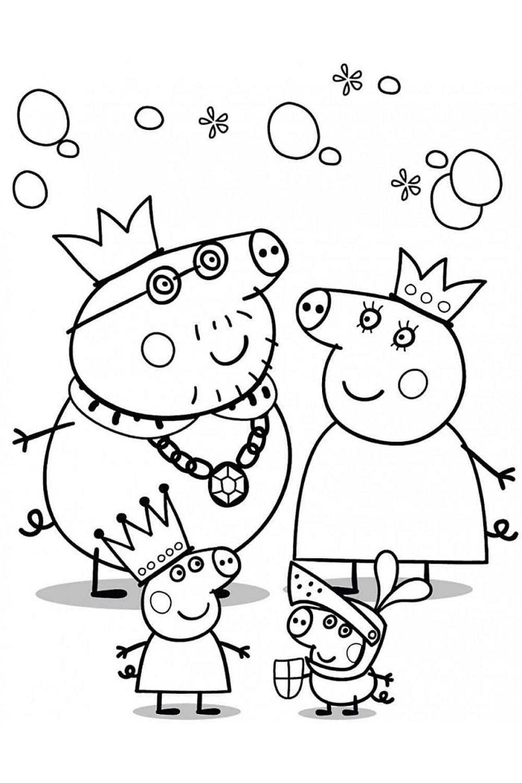 Раскраска Королевская семья Пеппы