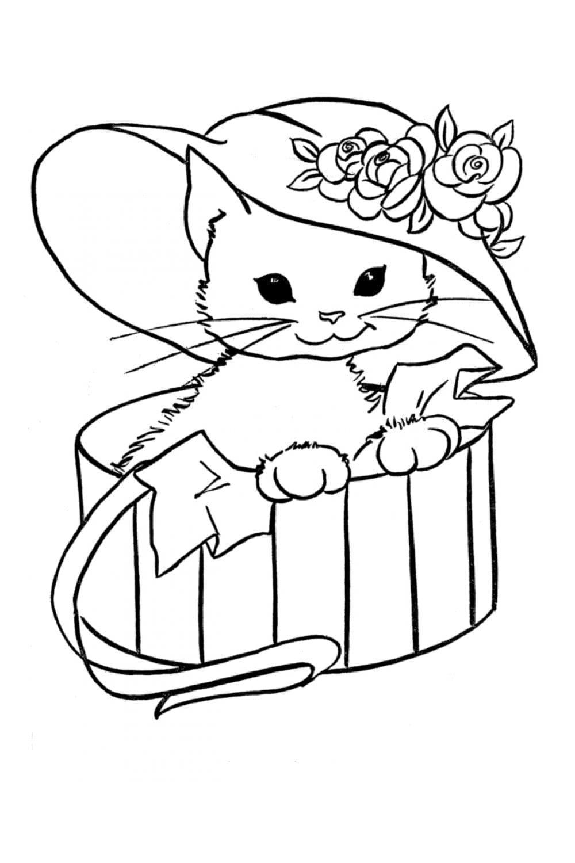 Раскраска Кошечка в шляпе