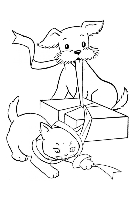 Раскраска Кошка и собака открывают подарок